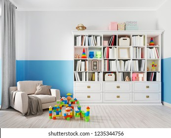 Colorful children's room interior with bookcase, bed, pillow, shelves and white armchair with a blanket. 3d rendering