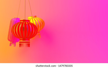 Colorful chinese lantern lampion on pink yellow gradient background. Design creative concept of chinese festival celebration gong xi fa cai. 3D rendering illustration.