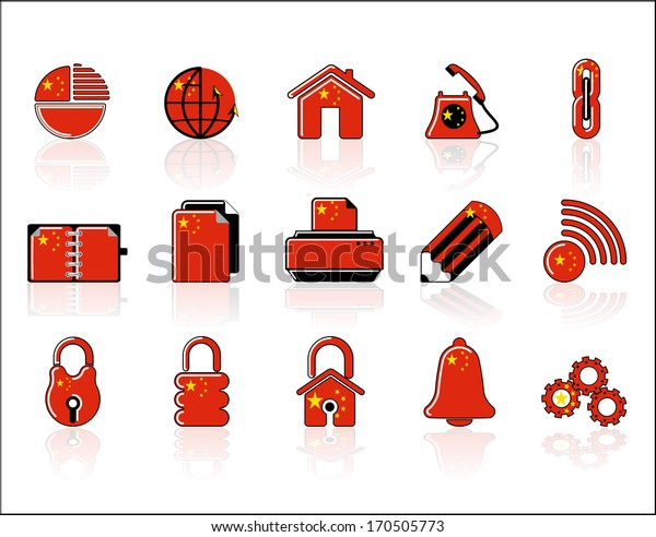 colorful Chinese Web Site & Internet icon set