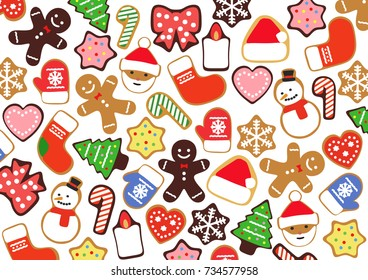 Colorful Christmas cookies  3D illustration