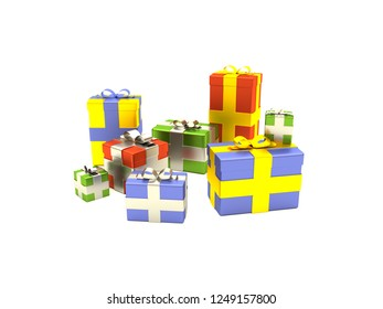 Colorful Christmas presents and Gift boxes with golden and silver ribbons in different sizes. Merry Christmas and Happy New Year. 3D style illustration isolated on white background.