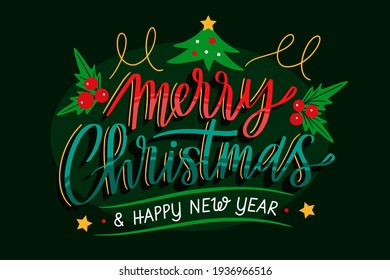 colorful christmas theme background with christmas tree