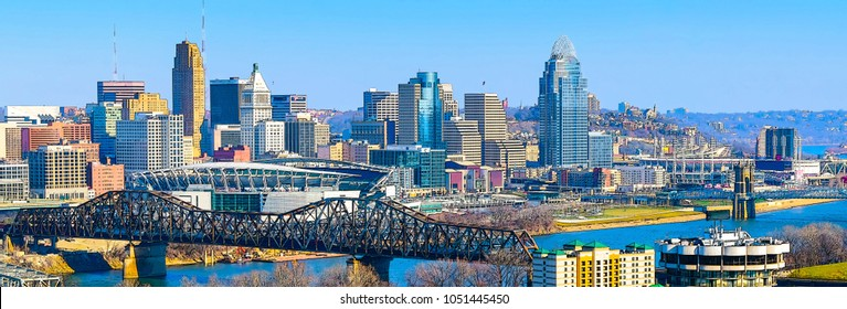 Colorful Cincinnati's sky line and river front looking from Covington Kentucky 2018 photography art draw. Urban photography