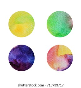 Colorful circles. Web design. Circles isolated on white background. Logo design. Art geometric pattern. Web design. Colorful watercolor circles. Yellow and green circles