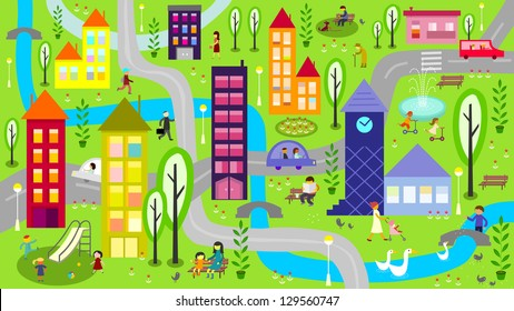 Colorful city with river - raster