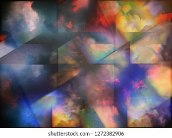 Colorful clouds with overlapping rectangular layers. 3D rendering
