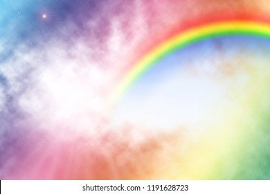 Colorful cloudy unicorn background with rainbow