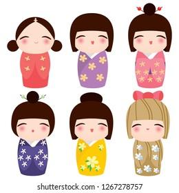 Colorful collection of different kimono kokeshi doll set