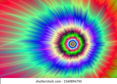 Colorful Comet / An abstract fractal work with a color explosion design in blue, red, green and violet.