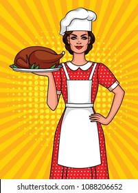 Colorful comic art style illustration of a pretty woman in a cook's hat with a plate of food. Cute Character from 50's of a smiling woman in apron just cooked Thanksgiving dinner