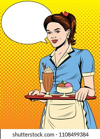 Colorful comic pop art style illustration of a beautiful waitress with a tray. Vintage postcard with young girl in apron and desserts on a tray