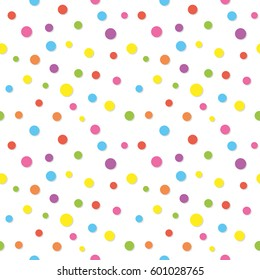 Colorful confetti pattern. Funny polka dots. For birthday and party design. Raster copy.