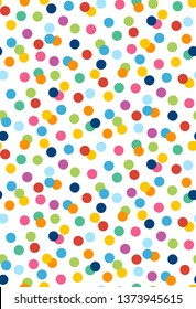 Colorful confetti polka dots, circles  pattern, seamless pattern repeat, raster illustration, gift wrap, stationery, kids, 2750x4020pixels, 300dpi.