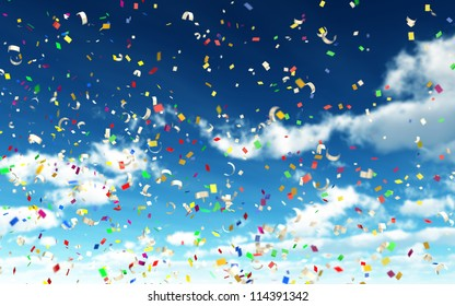 Colorful Confetti in Sky with depth of field