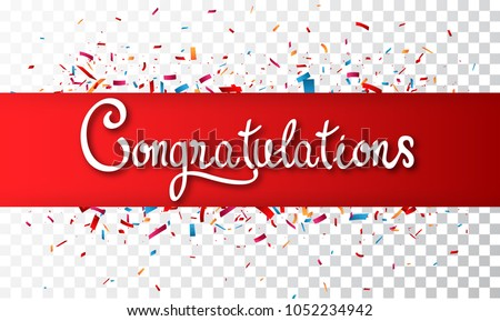 colorful congratulations banner isolated on transparentのイラスト