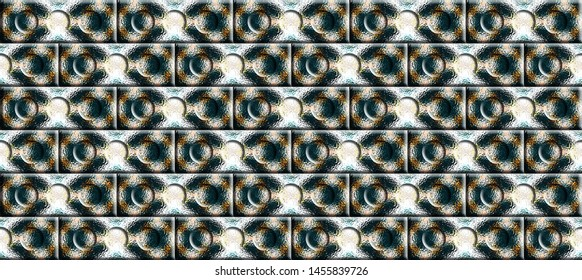 Colorful convex relief bricks with three round concave circles on them seamless pattern