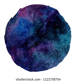 Colorful cosmic round background isolated on white. Cosmos, galaxy, universe, space watercolor illustration. Circle shape with uneven edge. Watercolour night sky with stars. Aquarelle stains  texture.