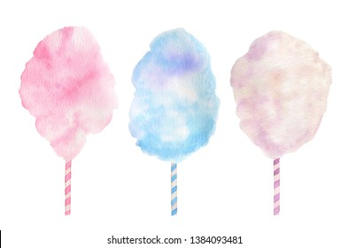 Colorful cotton candies (candy floss) watercolor illustration isolated on a white background suitable for summer holidays designs. Food illustration. Sweets