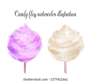 Colorful cotton candies watercolor illustration isolated on a white background