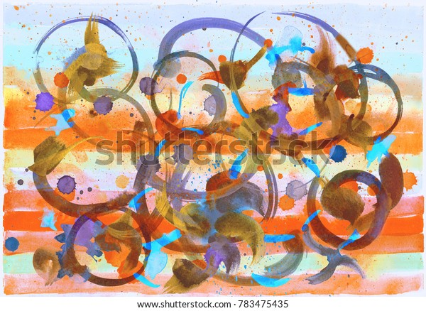 Colorful creative art background of horizontal and random chaotic textured brush strokes, spots and blots. Watercolor fantasy abstract hand-drawing.