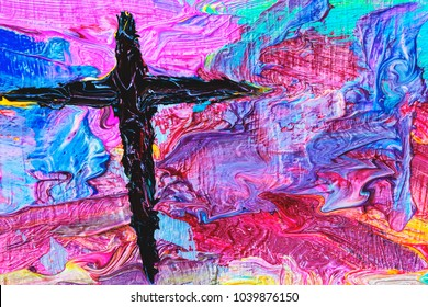 colorful  cross by oil painting  can be used for your text or copy space, Christian background