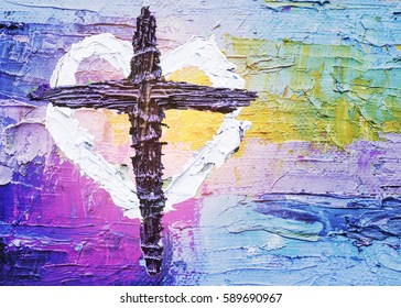 colorful of the cross with white heart by oil painting hand painted  can be used for your text or copy space