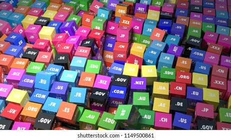 Colorful cubes with domain extensions. 3d illustration