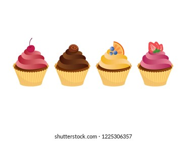 Colorful cupcakes icon set. Various cupcake cartoon. Four cupcakes isolated on a white background