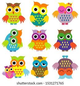 Colorful cute cartoon owls set