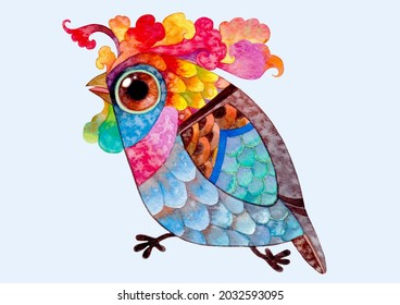 Colorful cute fantasy bird hand made watercolor painting for background,logo,banner,advertising,birds cartoon images,nature illustration,pattern,character design,birds cartoon illustration,clip art.