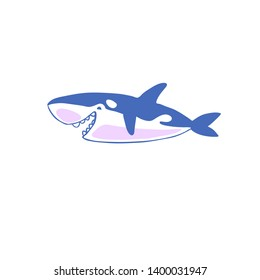 Colorful Cute Outline Character. Ocean Mammal. Orca Whale Killer