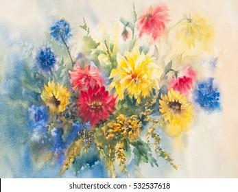 colorful dahlias watercolor