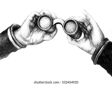 Colorful detailed drawing of hand holding binoculars. Illustration