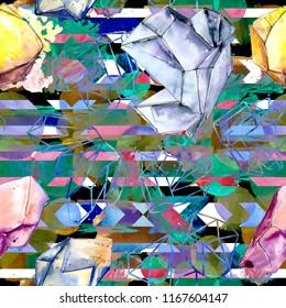 Colorful diamond rock jewelry mineral. Seamless background pattern. Fabric wallpaper print texture. Geometric quartz polygon crystal stone mosaic shape amethyst gem.