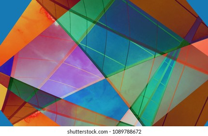 Colorful digital background art made with photo collage technique. Triangles, trapezoid shapes and lines are used.