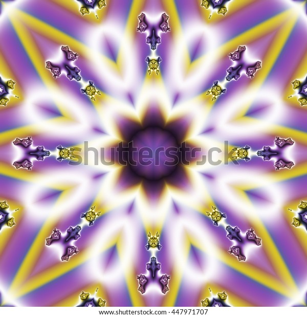 Colorful digital fractal flower shaped image in purple and white
