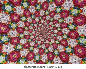 Colorful digital graphic kaleidoscope symmetry mandala style in laser light sunray trial pattern, Tie Dye , spiderweb art abstract background for art projects, banner, business,   card, 3D, template