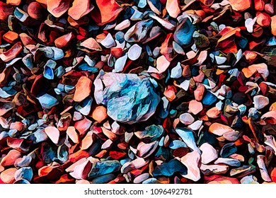 Colorful digital illustration of stones and shells on the beach.