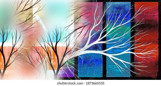 Colorful Digital Saree Design Illustration