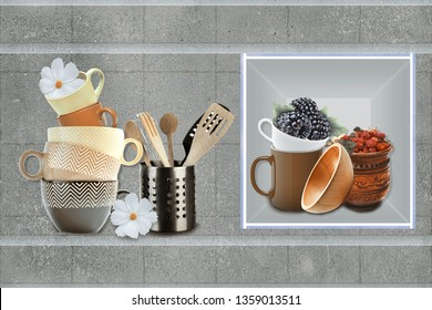 colorful digital wall tiles design for kitchen.