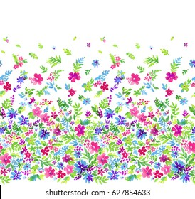 colorful ditsy seamless pattern with gradient layout: from empty to full from big to small.  A vibrant & happy floral allover pattern for fashion, curtain border, stationery, girls apparel.