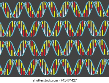 Colorful DNA double strands running on a dark grey background forming a texture.