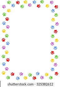 Colorful dog paw print frame / border on white background