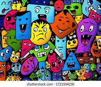 Farbige doodle Gesichter und Monster, die verschiedene Emotionen ausdrücken - große Menschenmenge