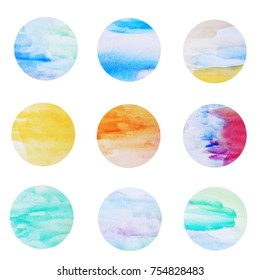 Colorful dots background. Circles. Colorful circles. Web design. Circles isolated on white background. Logo design. Art geometric pattern. Web design. Colorful watercolor circles. Summer ocean design