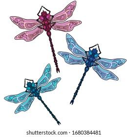 Colorful dragonflies is flying.Dgital hand drawn illustration with insects. Dragonfly in isolated white background.
