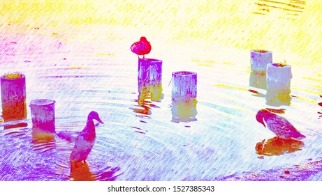 Colorful drawing of ducks on the lake side sitting on and near wood pillars.