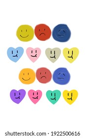 Colorful drawing emotion in heart and circle shape with white background.