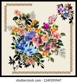 Colorful drawing flower bouquet cream background