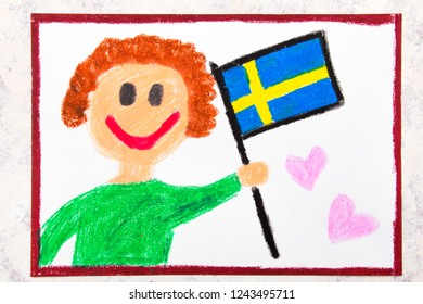 Colorful drawing: Happy man holding Swedish flag. Flag of Sweden and smiling boy
